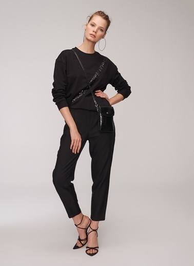 People By Fabrika Pili Detaylı Pantolon Siyah